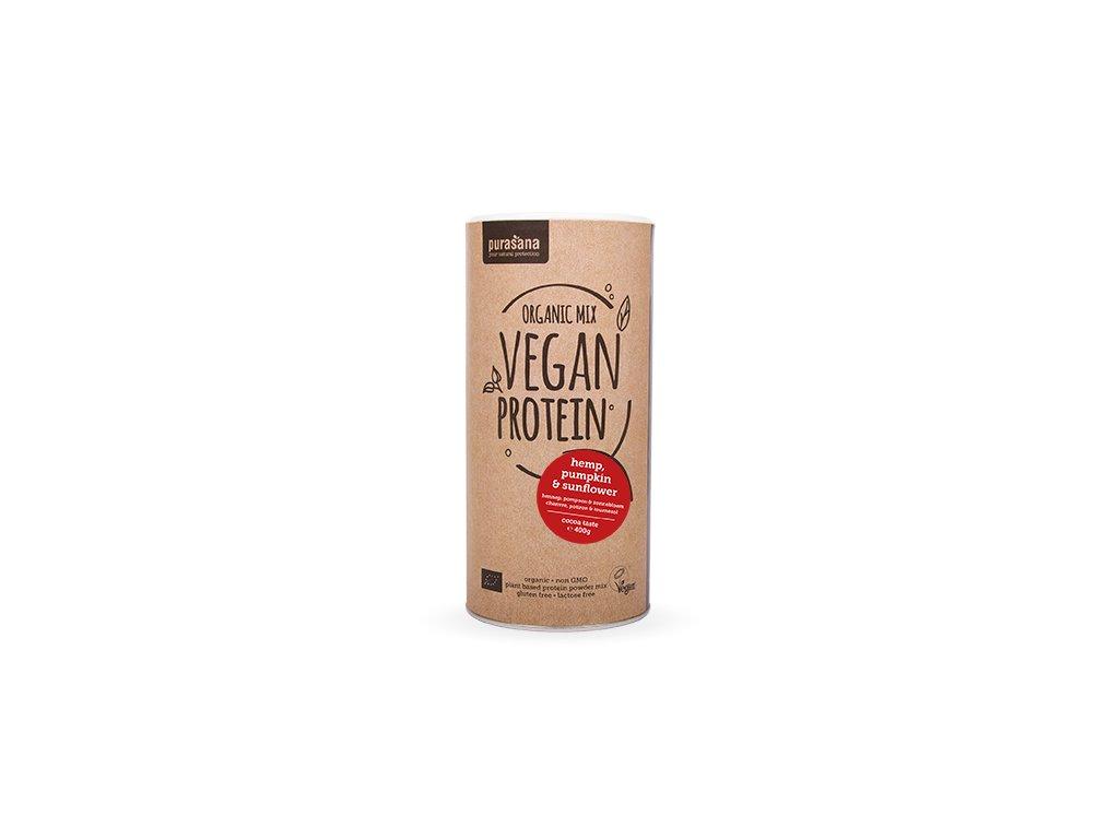 Vegan Protein MIX BIO 400g  kakao (dýně, slunečnice, konopí)  + ZDARMA tester produktu (protein, nakopávač, tyčinka)