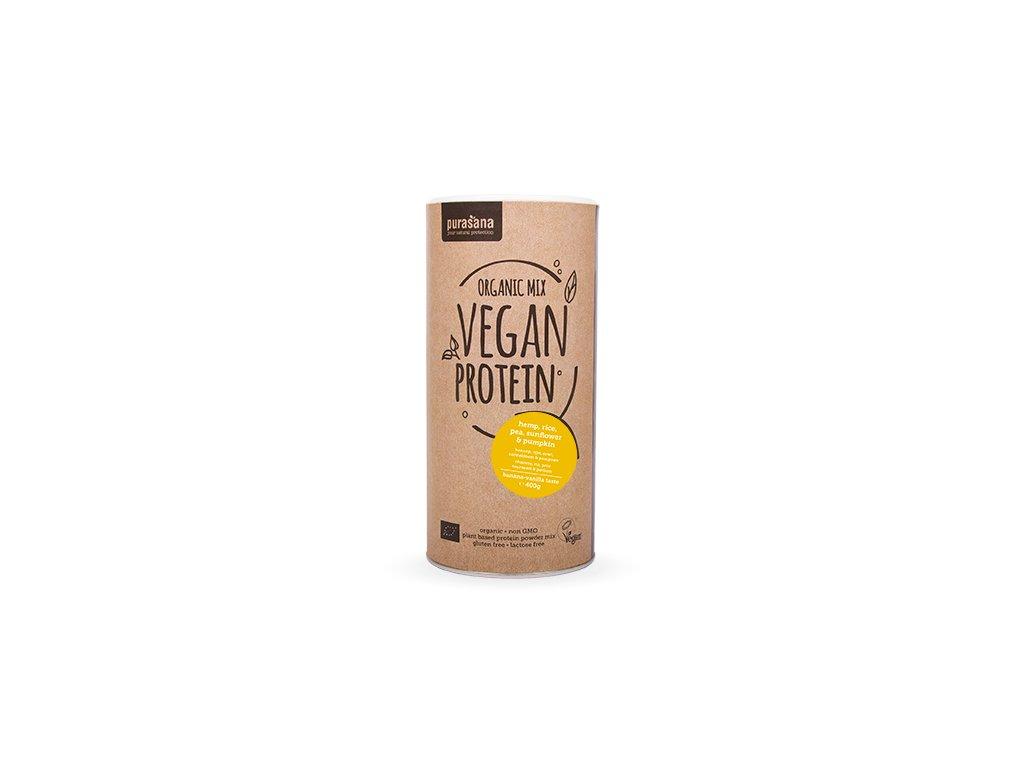 Vegan Protein MIX BIO 400g banán-vanilka (hrách, rýže, dýně, slunečnice, konopí)