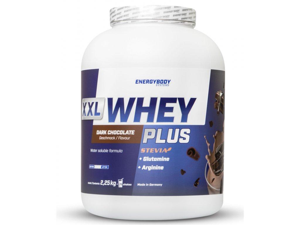 XXL Whey Plus Protein 2250g čokoláda  + ZDARMA tester produktu (protein, nakopávač, tyčinka)