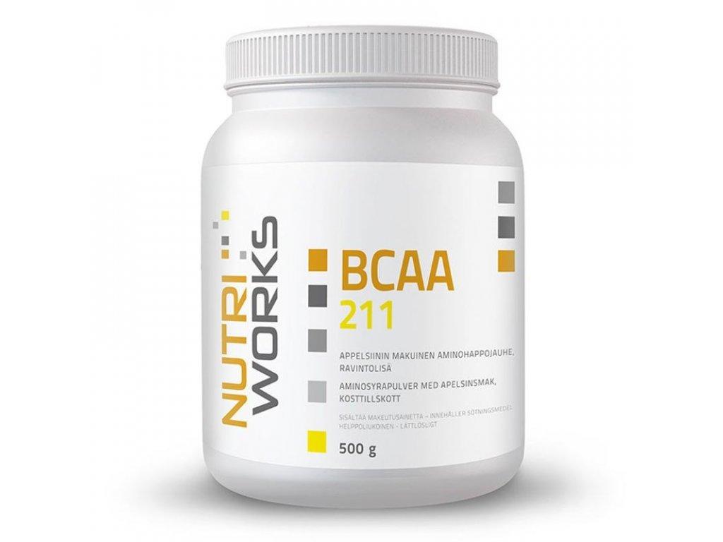NutriWorks BCAA 2:1:1 500g  + ZDARMA tester produktu (protein, nakopávač, tyčinka)