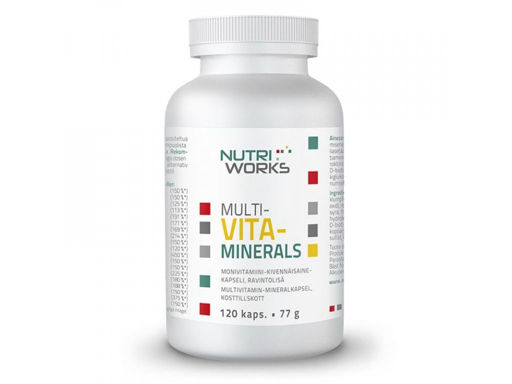 NutriWorks Multivitaminerals 120 kapslí  + ZDARMA tester produktu (protein, nakopávač, tyčinka)