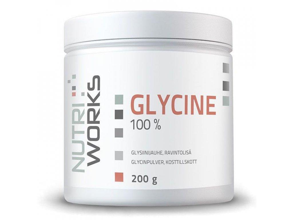 NutriWorks Glycine 200g  + ZDARMA tester produktu (protein, nakopávač, tyčinka)