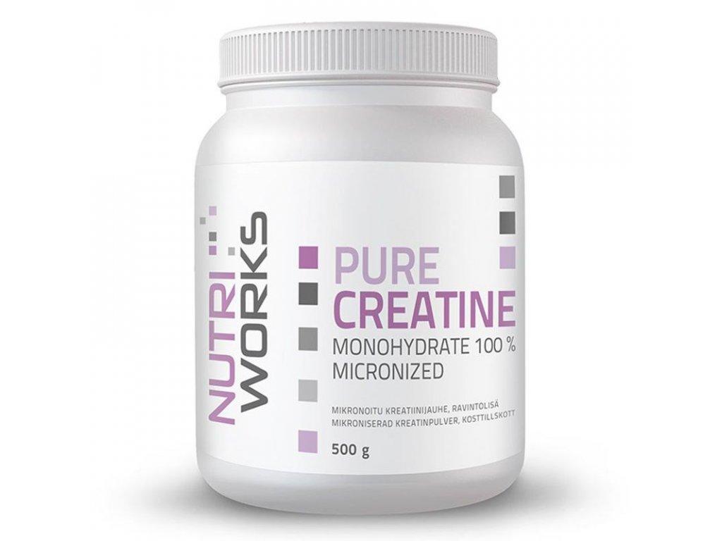 NutriWorks Pure Creatine Monohydrate 500g  + ZDARMA tester produktu (protein, nakopávač, tyčinka)