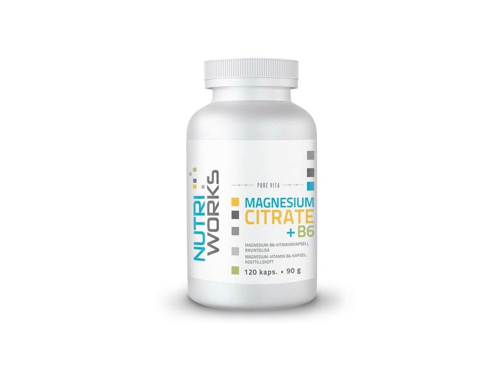 NutriWorks Magnesium + B6 120 kapslí  + ZDARMA tester produktu (protein, nakopávač, tyčinka)