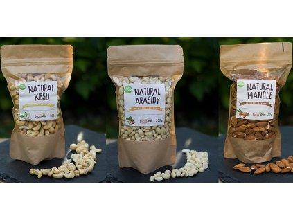 Přírodní arašídy 300g + kešu 300g + mandle 300g