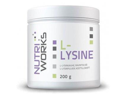NutriWorks L-Lysine 200g  + ZDARMA tester produktu (protein, nakopávač, tyčinka)