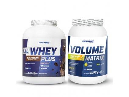 XXL Whey Plus Protein 2250g + Volume Matrix 2270g  + Dárek k objednávce zdarma