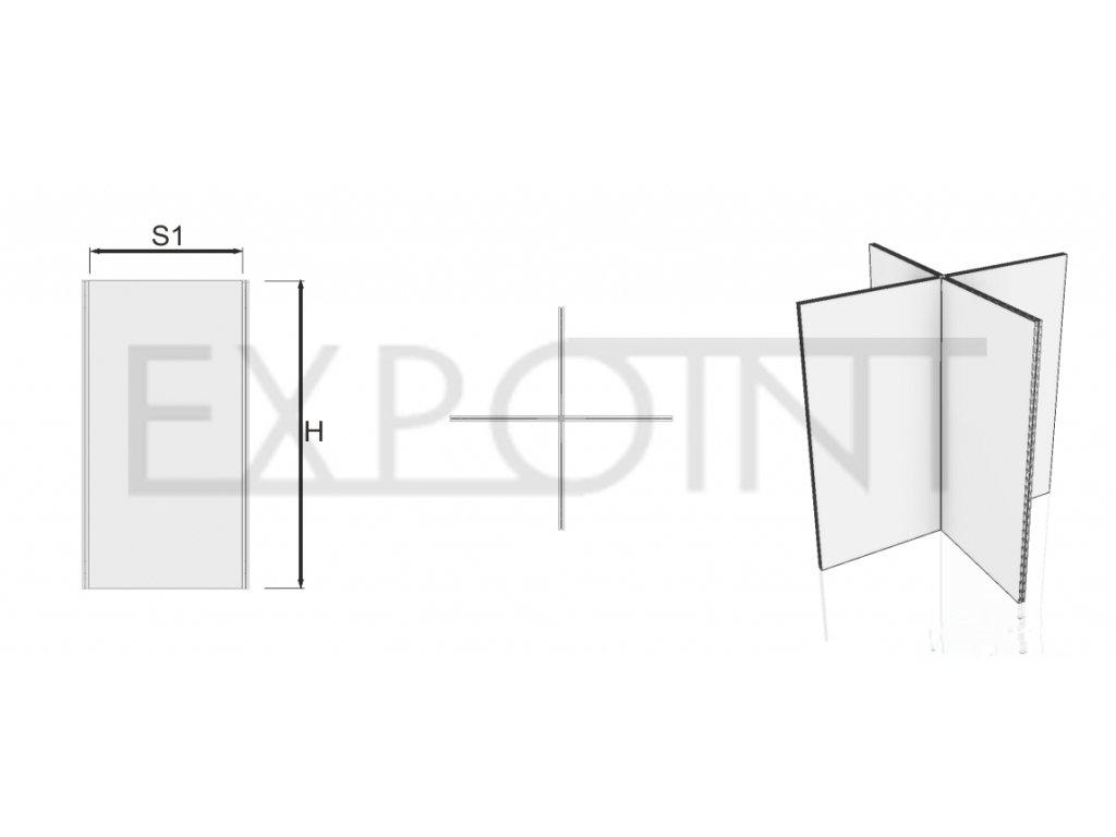OMCLK5I Výstavní stěna Cube Line ze čtyř panelů do interiéru