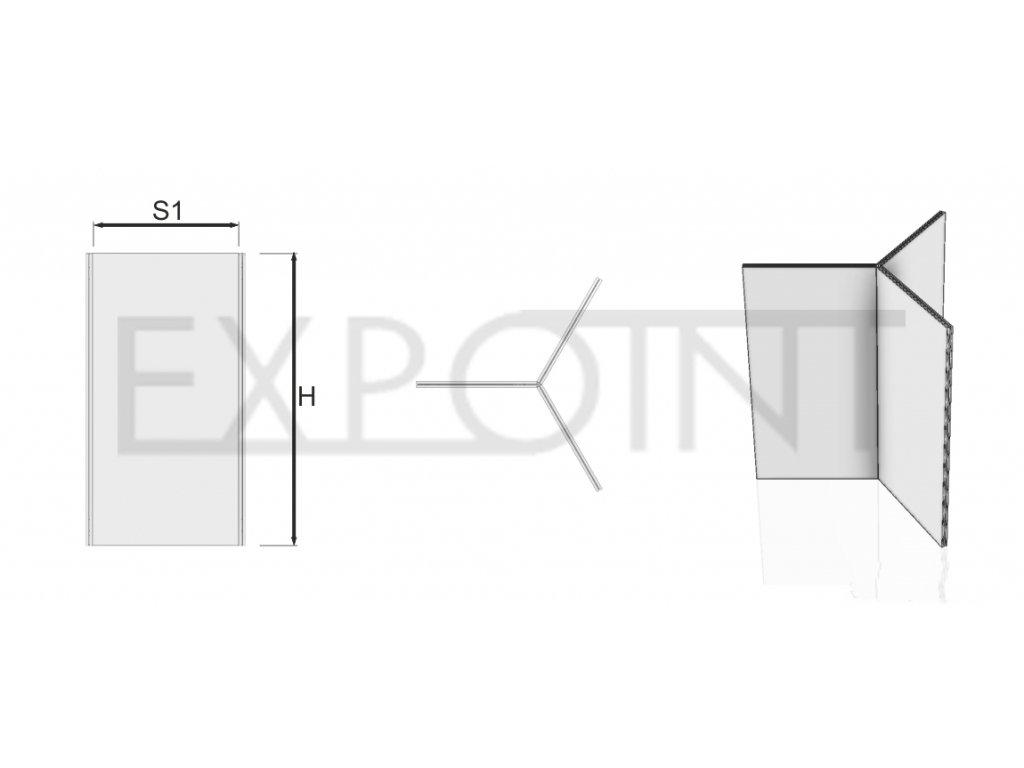 OMCLK6I Výstavní stěna Cube Line ze tří panelů do interiéru
