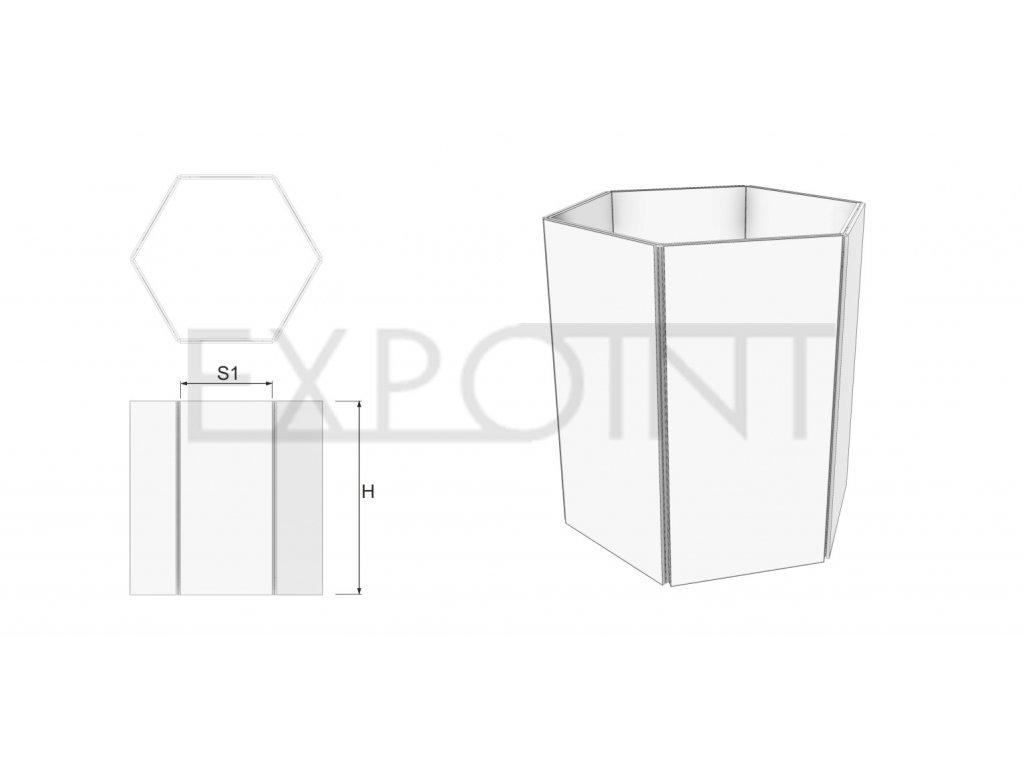 OMCLK4I Výstavní stěna EFFECT šestistranná do interiéru