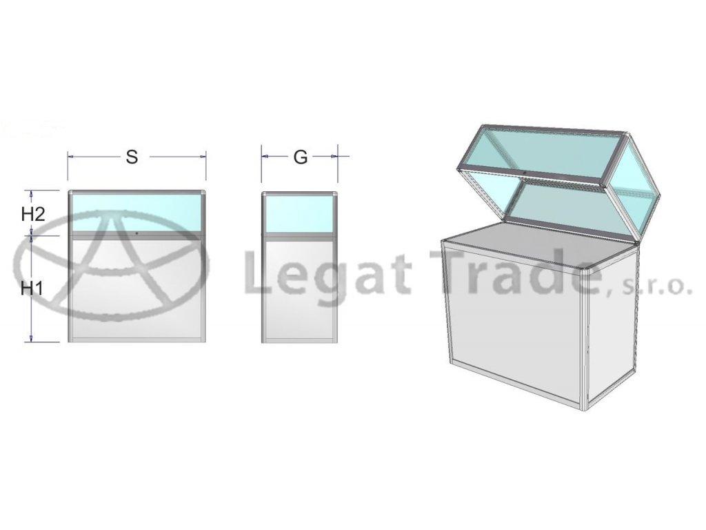 Výstavní vitrína stolová s plným podstavcem - kalené sklo