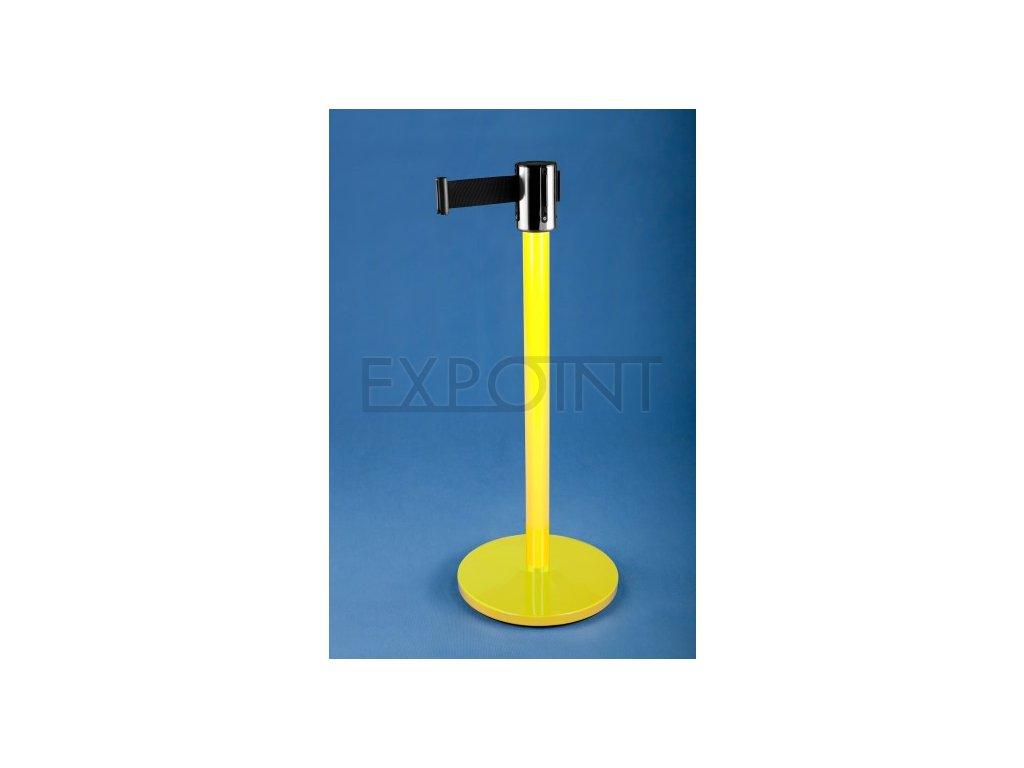 Zahrazovací sloupek se samonavíjecím pásem 4,5 m LAK Žlutý