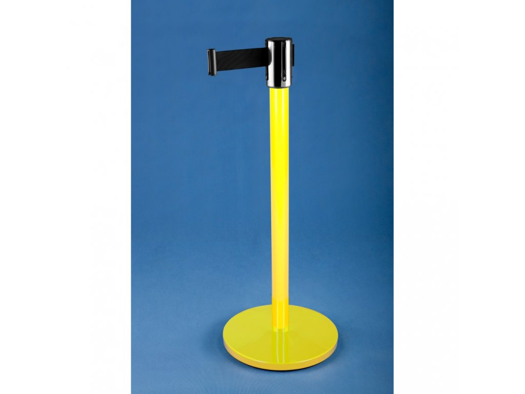 Zahrazovací sloupek se samonavíjecím pásem 2,7 m LAK žlutý