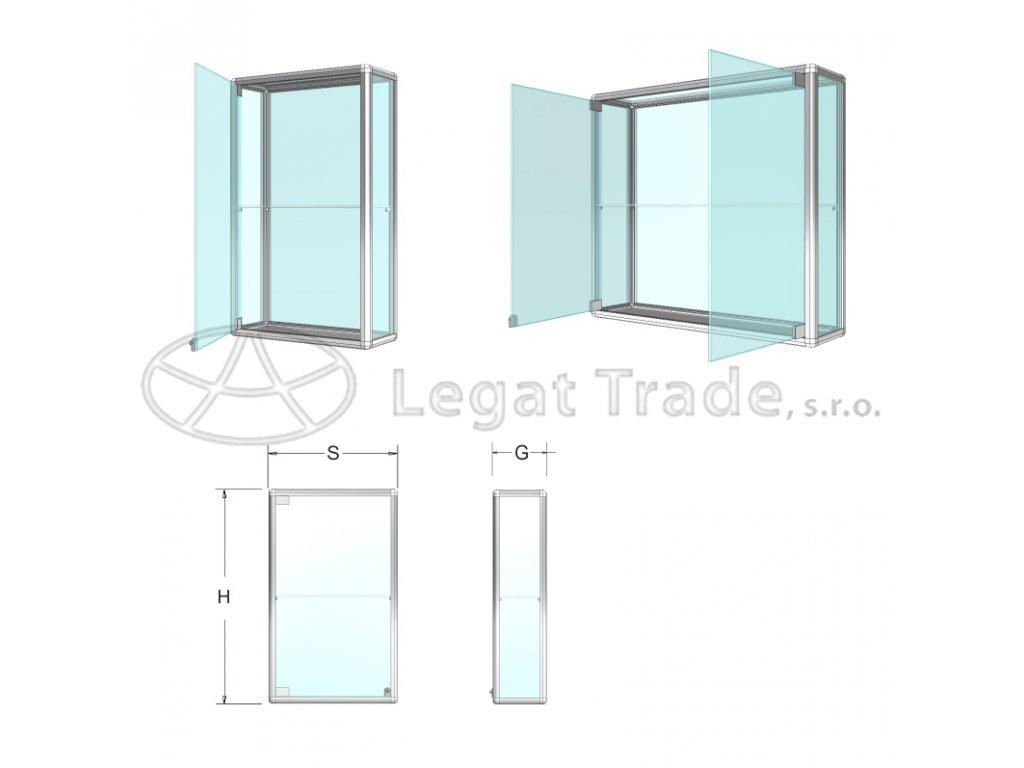ZAV03K20 Závěsná prosklená vitrína na poháry - kalené sklo