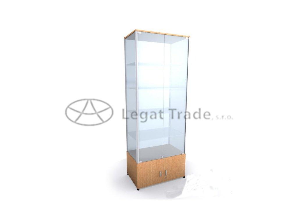 Výstavní vitrína na zboží se skříňkou /kalené sklo/