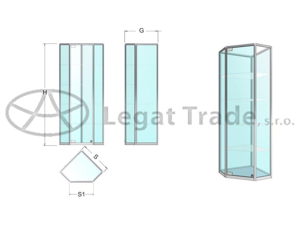 Rohová vitrína se základnou ve tvaru pětiúhelníku