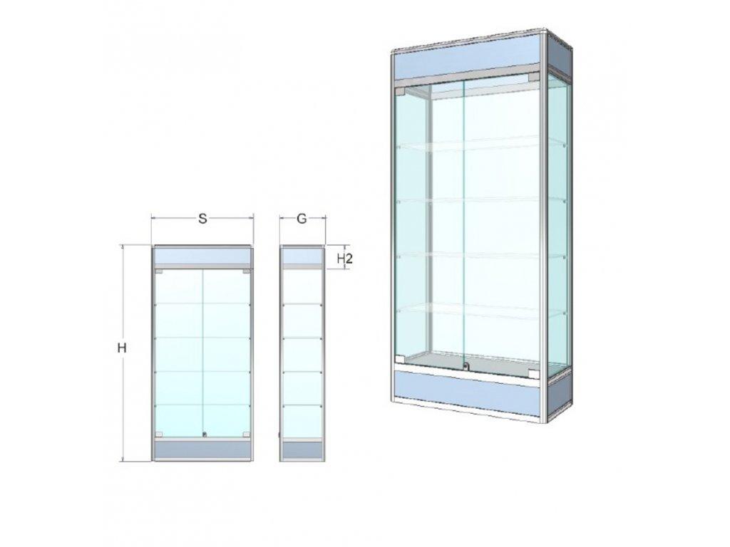 Prezentační vitrína s informačním pruhem a soklem