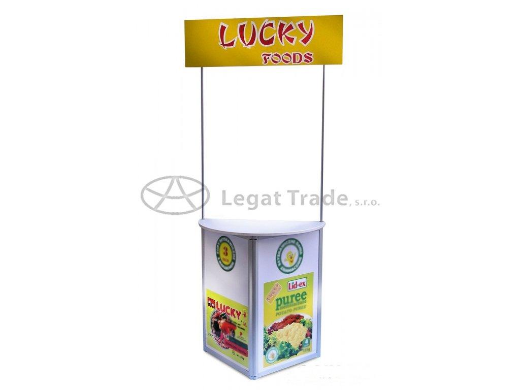 Degustační a reklamní promostolek s horním panelem  90 x 45 x 110cm