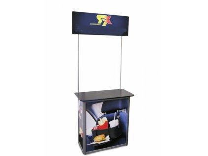 TRYSQU Degustační a reklamní promostolek s horním panelem  90 x 45 x 90cm