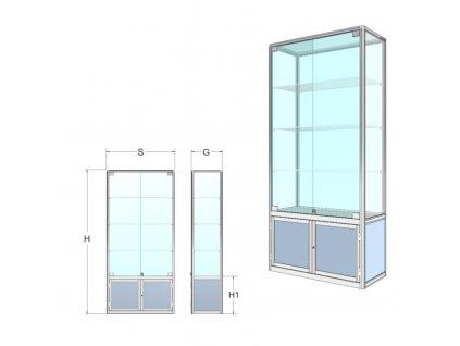 BIPK02GREY Prezentační vitrína se skříňkou a třemi policemi - kalené sklo