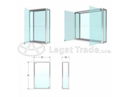 Závěsná prosklená vitrína na poháry - kalené sklo