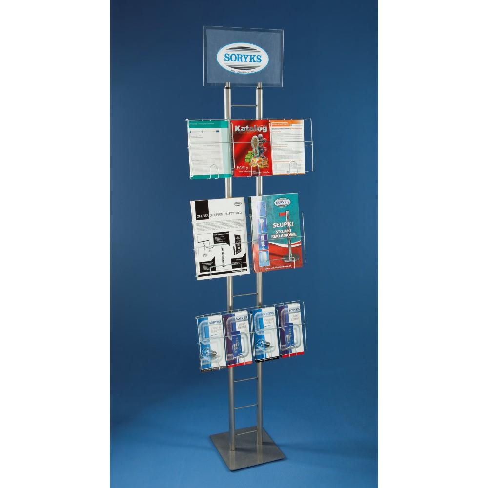 EXPOINT Reklamní stojan s drátěnými kapsami a tabulkou na logo Název: stojan s tabulkou na logo