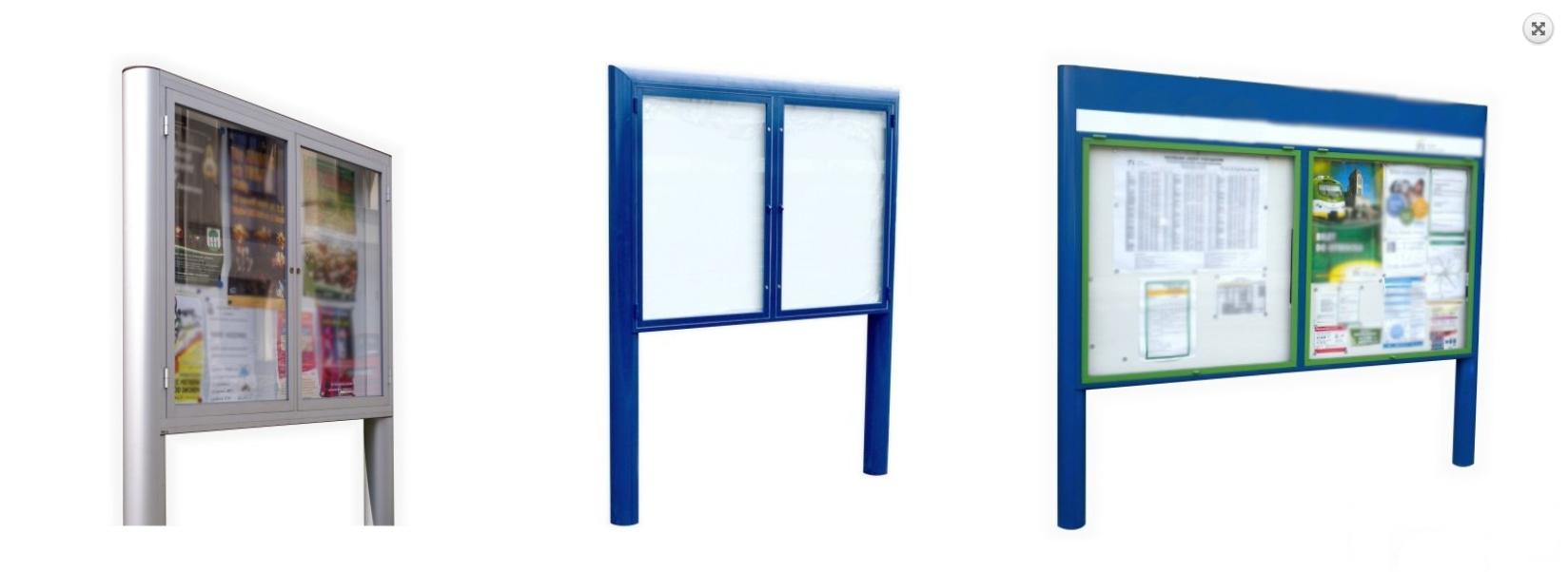 EXPOINT Venkovní vitrína GEX04OB s širokým profilem dvoudílná Název: Formát 18xA4, rozměr: šířka 1690 x výška 1110 x hloubka 140mm, celková nadzemní výška 1900mm, oboustranná