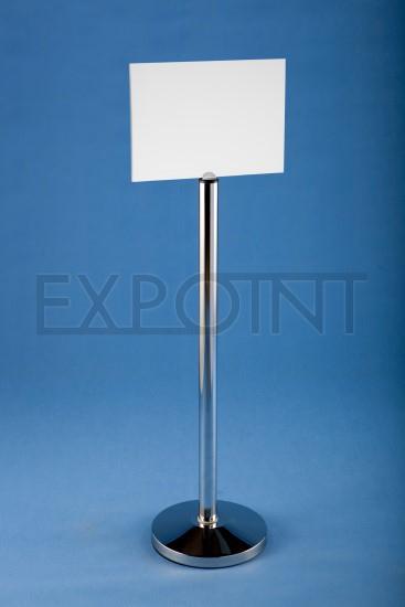 Stojan s PVC tabulkou Název: rozměr tabulky A4: 297 x 210 mm