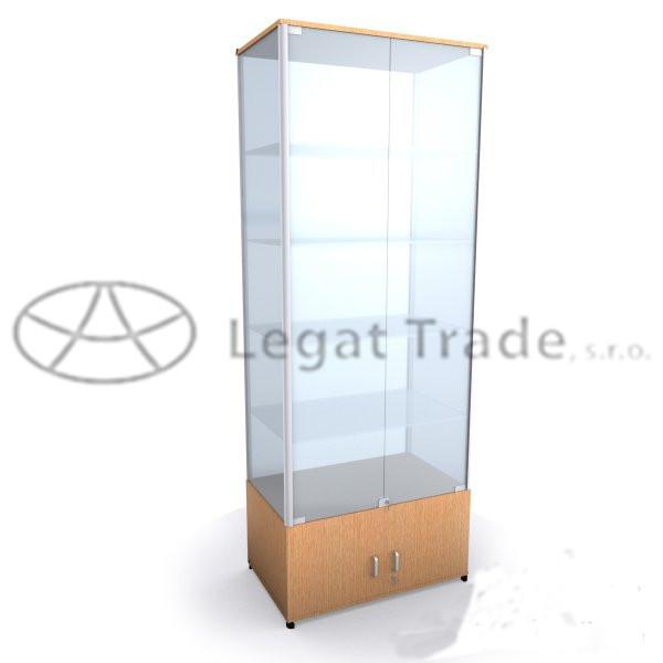 Výstavní vitrína na zboží se skříňkou /kalené sklo/ Název: 50 x 30 x 180cm, zadní část MDF