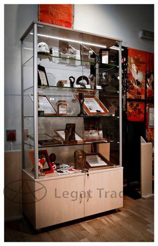 Výstavní vitrína na zboží se skříňkou Název: 50 x 30 x 180cm, zadní část sklo