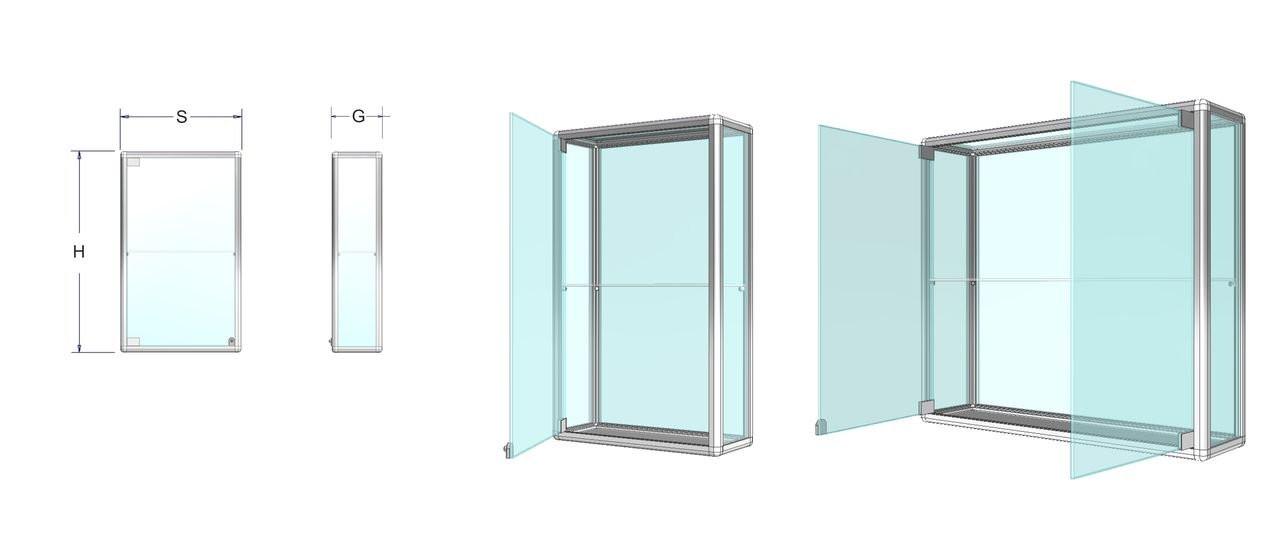 Závěsná prosklená vitrína na zboží - kalené sklo Název: 60 x 90 x 25cm +1police 6mm