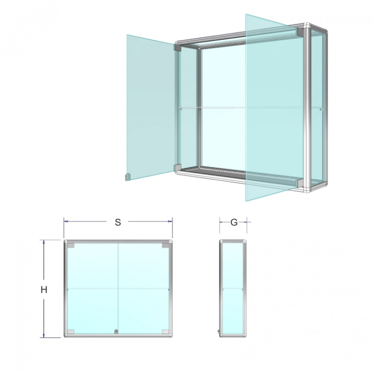 Závěsná prosklená vitrína na zboží - Standardní sklo Název: 60 x 90 x 25cm obyčejné sklo +1police 6m