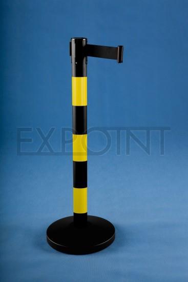 Vymezovací sloupek se samonavíjecím pásem 2m a více PRUHY Název: barva pásky: černo-žlutá, délka pásky 2,3m