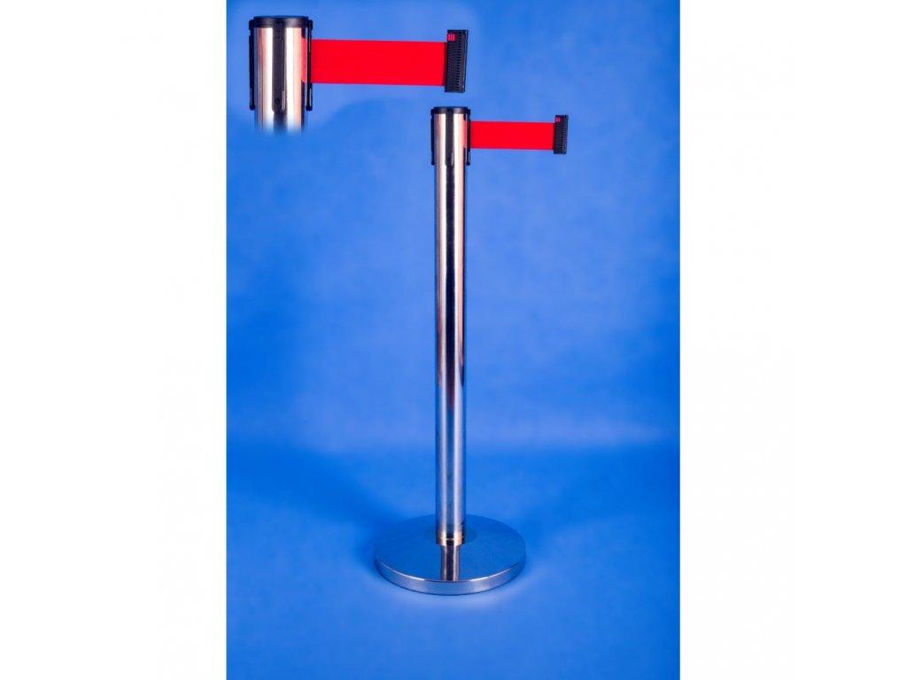 Vymedzovací stĺpik s pásom 2,3 m NEREZ
