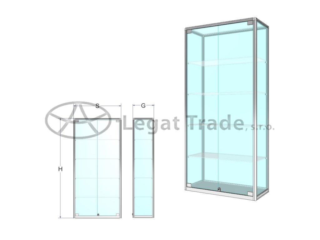 Prezentačná vitrína na tovar- štandardné sklo