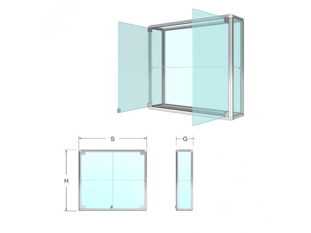Závesná presklená vitrína na tovar - štandardné sklo