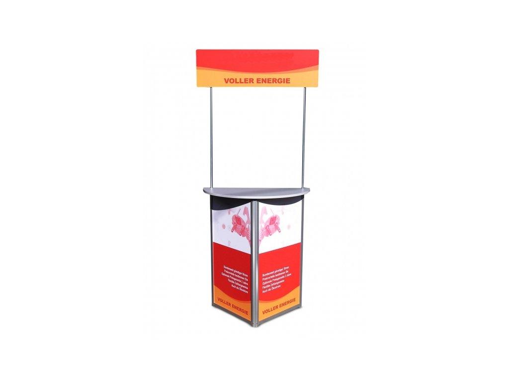 Stabilný vyšší promo stolík jednoduchého tvaru s panelom