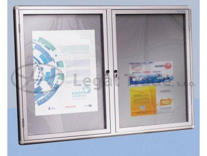Závesná vitrína so zaobleným profilom delená
