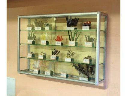 Závesná presklená vitrína na zboží s posuvnými dvierky - kalené sklo
