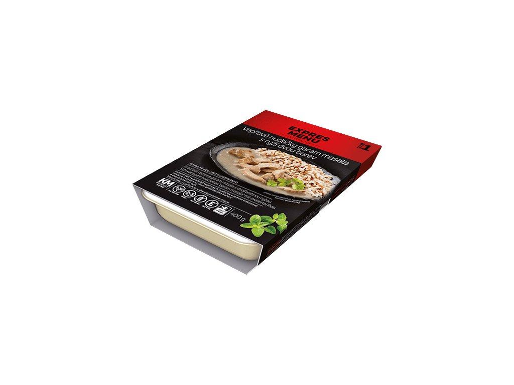 KM Vepřové nudličky garam masala, rýže dvou barev