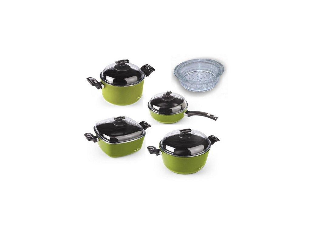 Sada nádobí TITANO pro malou rodinu, 5ti dílná, green/zelená