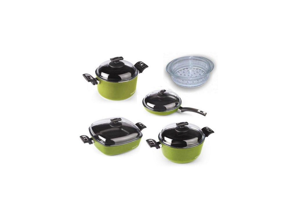 Indukční sada nádobí TITANO pro velkou rodinu, 5ti dílná, green/zelená