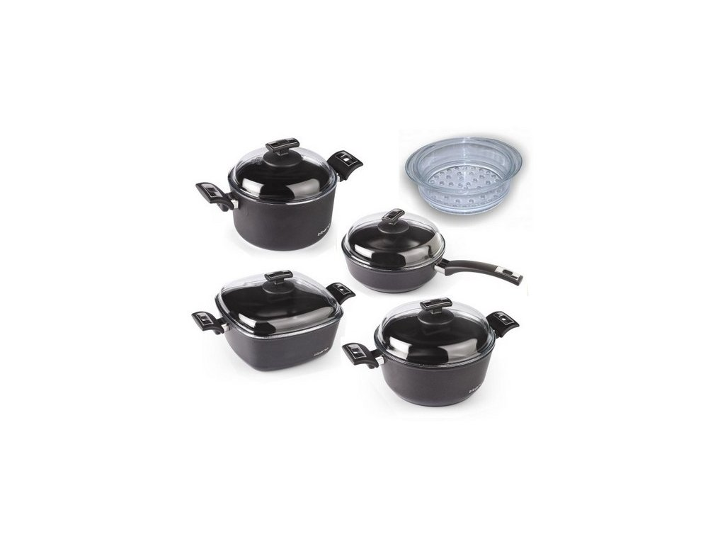 Sada nádobí TITANO pro malou rodinu, 5ti dílná, black/černá