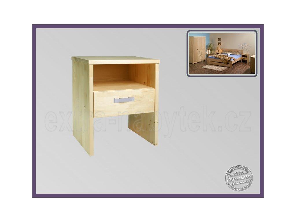 Noční stolek Erik 095 SMRK  Dřevěný stolek k vysokým postelím