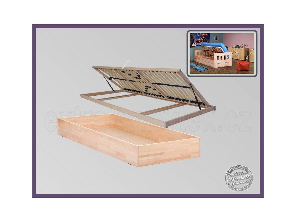 Úložný prostor pevný buk  Výklopný úložný prostor pod celou postel