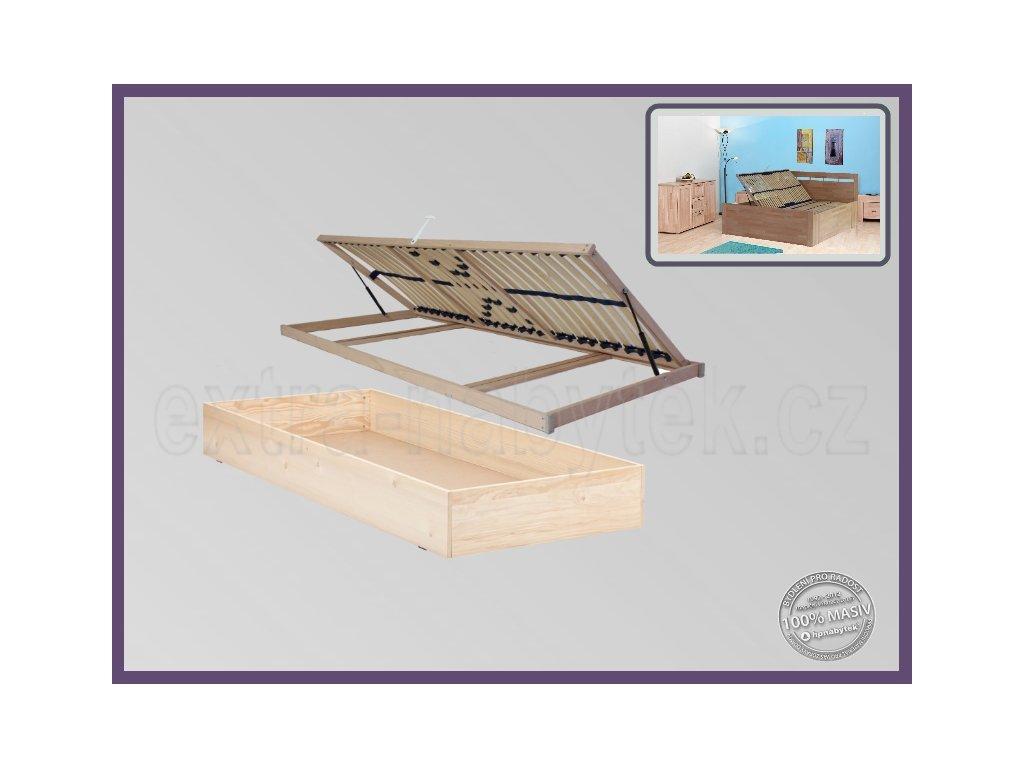 ÚP pevný 129 V25 SMRK  Výklopné úložné prostory pod celou postel