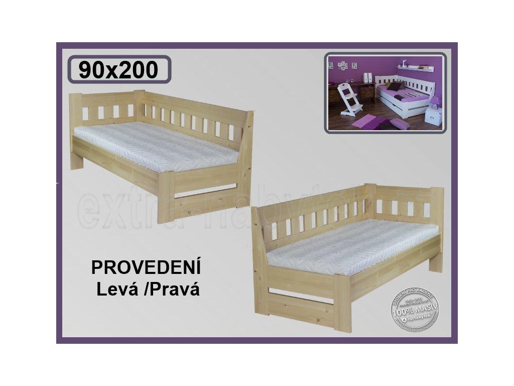 Postel Arleta levá/pravá 121 SMRK  Rohová vyvýšená dřevěná postel Arleta