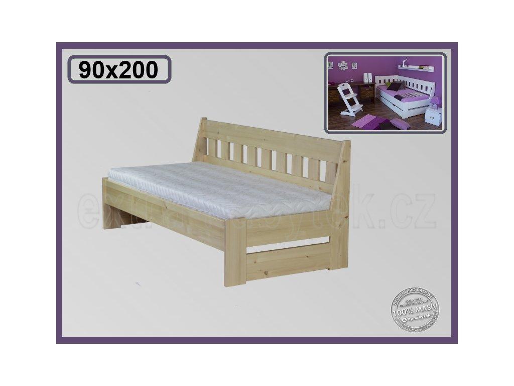 Postel Arleta lavice 121 SMRK  Dřevěná postel Arleta - lavice