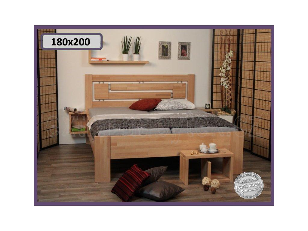 Postel Heidi supra 144 BUK  Vysoké manželské dvojlůžko ze dřeva