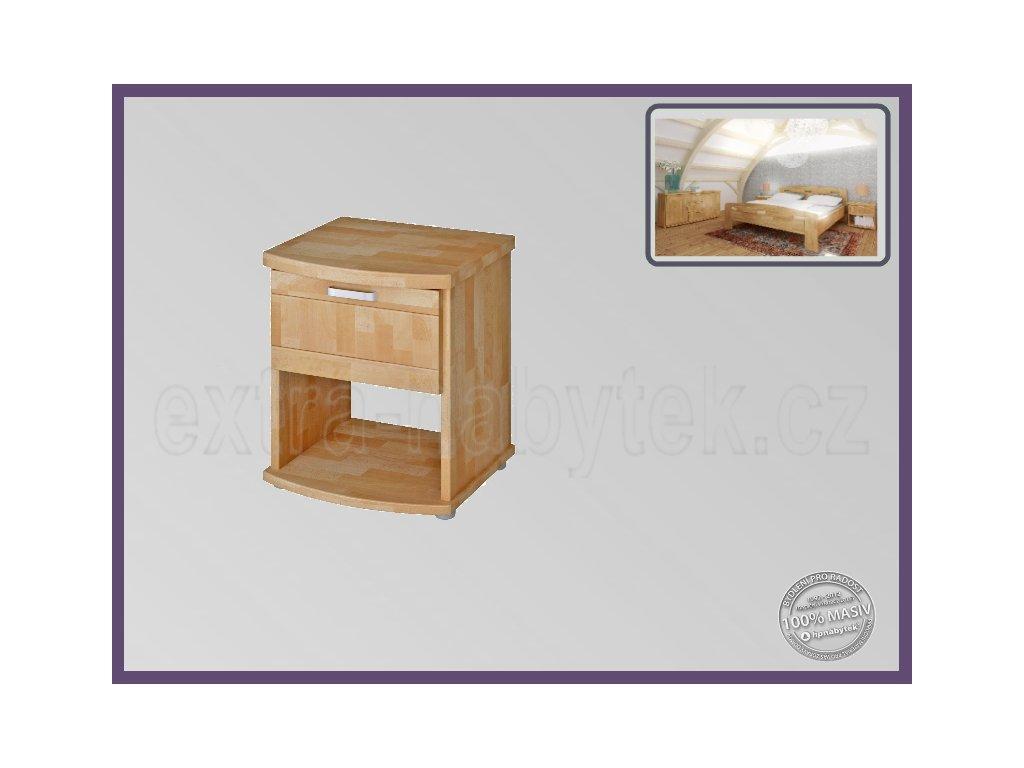 Noční stolek Megan 194 BUK  Masivní noční stolek ze dřeva